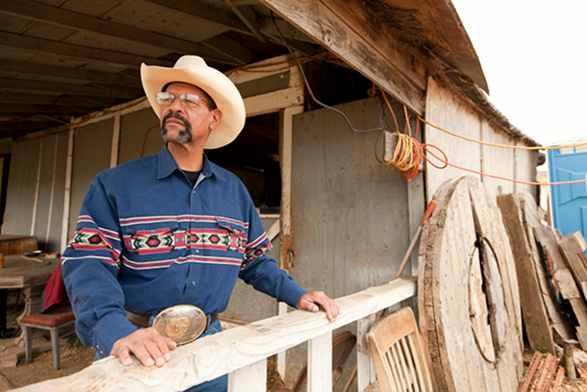 Butch Hebert at  the No Name Ranch, where he kept his horse Cheyenne.